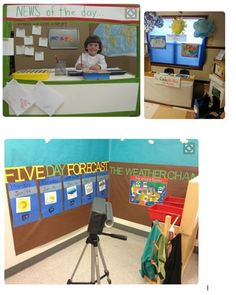 compilation of ideas for a weather center in the dramatic play are in kindergarten or preK. Weather Activities Preschool, Pre K Activities, Weather Kindergarten, Weather Center, Weather Unit, Dramatic Play Area, Dramatic Play Centers, Weather Lessons, Classroom Fun
