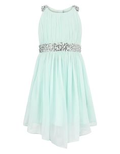 Monsoon | Skye Sequin Dress | Green | 4 Years