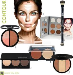 Beauty: Get Sculpted! How to Contour and Highlight Your Face Beauty: Get Sculpted! How to Contour and Highlight Your Face Contour Kit, Contour Makeup, Skin Makeup, Contour Face, Beauty Make-up, Beauty Secrets, Beauty Hacks, Face Beauty, Beauty Tips