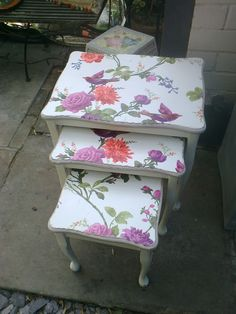 Decoupage using wallpaper to transform a preloved nest of tables