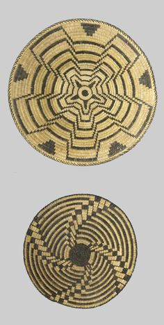 Two Pima baskets  Both tightly woven, showing a striped pinwheel pattern on one, the other with a concentric star effect.  diameter 10 3/4 and 13 3/4in