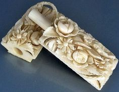 French Dieppe Basket of Flowers & Fruits Needle Case; Circa 1800.