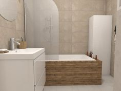 Malá kúpeľňa s vaňou a dreveným dekorom