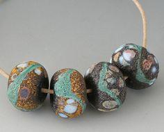 Rustic Artisan Pairs - (4) Handmade Lampwork Beads - Green, Brown, Black