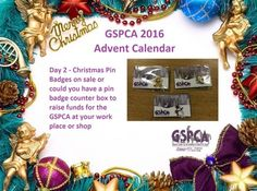 GSPCA Advent Calendar Day 2 - Christmas Pin Badges on sale or could you have a pin badge counter box at your work place