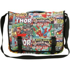 Marvel Comic Collage Messenger Bag | Hot Topic (€33) ❤ liked on Polyvore featuring bags, messenger bags, black bag, comic book, black messenger bag, courier bag and cartoon bags