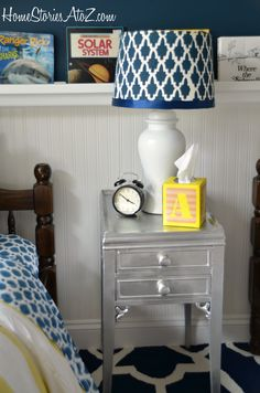 love the lamp shade, and the spray painted side table
