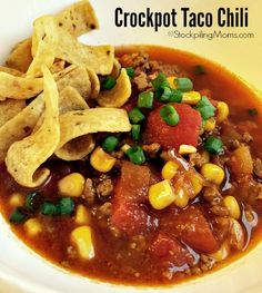 This is a must pin crockpot freezer meal recipe - Crockpot Taco Chili is a huge hit with my family for dinner!