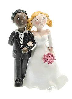 Figurines mariage couple mixte femme blanche homme black - Pour mettre une touche finale sur votre pièce montée, optez pour une figurine délicate et remplie d'amour !  http://www.mariage.fr/figurine-mariage-mixte-homme-black.html