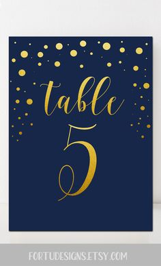 Gold and navy table numbers - Wedding printable table numbers - Navy and gold wedding table decor. #tablenumbers #goldnavywedding
