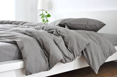 Classic duvet cover handcrafted from our best selling medium grey linen, soft and durable! Our linen fabric are woven from the finest flax,