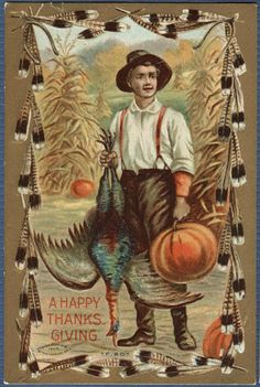 Thanksgiving  Young Man With Turkey Pumpkin | Feather Border series #Thanksgiving