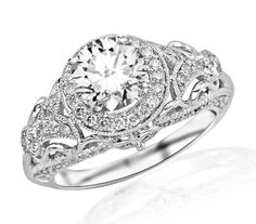 1.45 Carat Round Cut Round Diamond Engagement Ring 14K White Gold Vintage Halo Style (F-G Color, SI2-I1 Clarity)