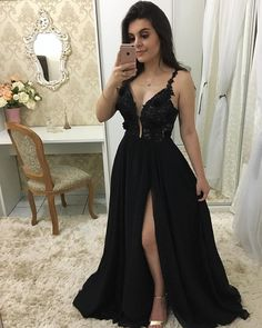 Plunging Neck Black Prom Dress with Split, Sexy Black Evening Party Dress - Prom Dresses Design A Line Prom Dresses, Black Wedding Dresses, Bridesmaid Dresses, Formal Dresses, Formal Prom, Dress Prom, Party Dresses, Lace Chiffon, Chiffon Prom Dresses