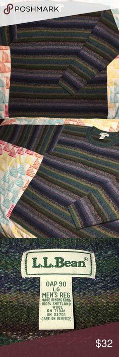 LL Bean 100% Shetland Wool Striped Sweater Size Large - 9.9/10 L.L. Bean Sweaters Crewneck