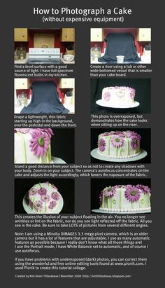 How to Photograph a Cake by Kim Dever Thibodeaux I wrote this tutorial in 2008. I have a better camera now and actually know how to use it, but the basics still hold true. :)