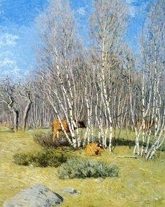 """""""Les Bouleaux"""", huile sur toile de Julian Alden Weir (1852-1919, United States)"""