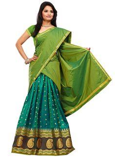 Turquoise Art Silk Half Saree