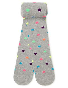 Grey Mix Cotton Rich Heart Print Tights (5-14 Years)