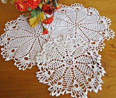 3 Doilies Doily Crocheted Doily White Vintage Doilies  B181 by treasurecoveally on Etsy