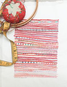 "Red Stripe Embroidery Sampler from Rebecca: ""It started as a doodle on an envelope, then I made the same doodle on a hundred envelopes because it was so m. Cotton Quilting Fabric, Hand Quilting, Andrea Miller, Couching Stitch, Doodle, Old Bed Sheets, Embroidery Sampler, Embroidery Stitches, Hand Embroidery"