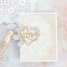 I find today's card so romantic - white embossing on kraft with the lightest of pinks to accent. It would make a lovely Valentine's or wedding card  #simonsaysstsamp