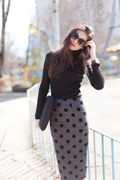 @roressclothes closet ideas #women fashion Polka Dotted Midi Skirt Outfit