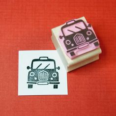 Mini Black Taxi Cab Stamp - Hand Carved Rubber Stamp
