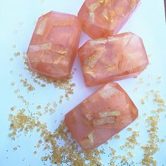 honeysuckle peach fairy crystal soap - glycerin soap, gem soap, geode soap…