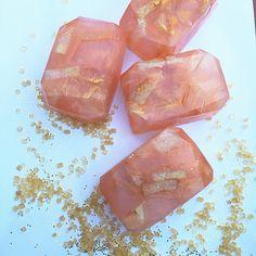 Peach pie fairy crystal soap - glycerin soap, gem soap, geode soap, fruit soap, peach scented soap, glitter soap
