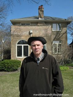 In front of the old Hillary Rodham Clinton home in Park Ridge, Illinois--in my Tea Party outfit