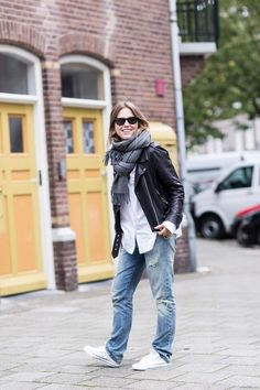 Scarf, leather jacket, jeans.....