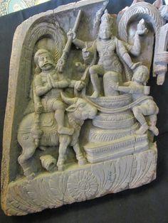 Antique Rare Hindu Original Wood Panel Hindu God Shiva Cow Goddess Figurine 2482