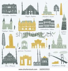 Istanbul landmarks and monuments - stock vector
