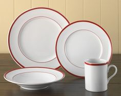 Brasserie Red-Banded Porcelain Dinnerware Place Settings #WilliamsSonoma
