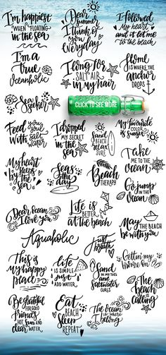 Bright summer - only $22! by beauty drops on @creativemarket Sea Quotes, Nature Quotes, Words Quotes, Art Clipart, Vector Art, Doodle Quotes, Hand Lettering Fonts, Card Sentiments, Letter Set