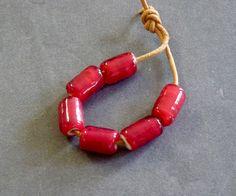 Red white heart glass beads handmade lampwork set of six by DakotaPrairieStudio on Etsy https://www.etsy.com/listing/487230002/red-white-heart-glass-beads-handmade