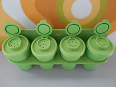 Retro Lime Green Tupperware Spice Canisters by DebsVintageEmporium