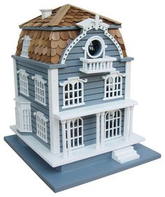 How cute is that?  They have other styles if you are looking for something to match your house. Sag Harbor Birdhouse - Blue with Mansard Roof - traditional - birdhouses - Home Bazaar