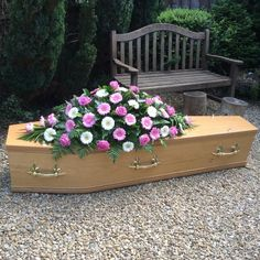 Rose and Gerbera Casket Spray Funeral Caskets, Funeral Ideas, Casket Sprays, Funeral Tributes, Funeral Arrangements, Sympathy Flowers, Funeral Flowers, Gerbera, Fresh Flowers