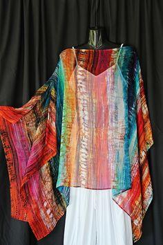 100 silk Rainbow colours Kaftan Top by Molly by MollyKaftans, $99.00