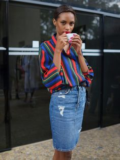 fashion, street style, summer outfit, colorful blouse, denim skirt, black girl, black womens inspiration