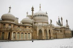 Brighton Pavilion surrounded by snow.
