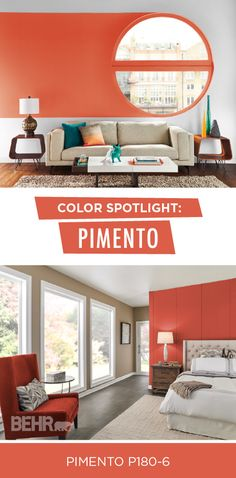 What better way to celebrate the beginning of fall than with BEHR Paint's Color of the Month: Pimento. This orange-red hue calls to mind the image of colorful fall leaves and snuggling up on brisk mornings. Pair this modern interior paint color with white, tan, and brown accent colors to give your home a warm and cozy feel.