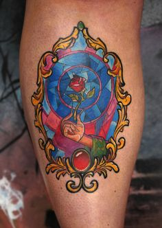 Beauty And The Beast Stained Glass Rose Tattoo In Mirror