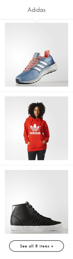 """Adidas"" by richard-cmi ❤ liked on Polyvore featuring shoes, tops, hoodies, white hooded sweatshirt, white hoodies, red top, white hoodie, adidas hoodie, t-shirts and white tee"