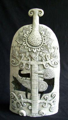 Amazing ceramics by Roman Khalilov. Love the reversal -- negative shape as the dominant surface figureAmazing ceramics by Roman Khalilov. Love the reversal -- negative shape as the dominant surface figure Ceramic Birds, Ceramic Animals, Ceramic Clay, Ceramic Pottery, Pottery Art, Sculpture Art, Sculptures, Ceramic Techniques, Contemporary Ceramics