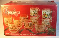 12 TWELVE DAYS OF CHRISTMAS GLASS MUGS-Christmas By Carlton 1985 Vintage Cups