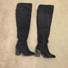 💕Thigh high black boots 💕 Worn only once for a short period of time. Perfect pair of thigh high black faux suede boots. These have zippers on the inner side for on and off. Can also be rolled down so they are below the knee for a more casual look. Very versatile and fab condition. No trades Diba Shoes Over the Knee Boots