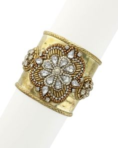 If you are going to go - go big and bold with this Sparkling Sage 14K Plated Crystal & Resin Cuff is on Rue. Shop it now.